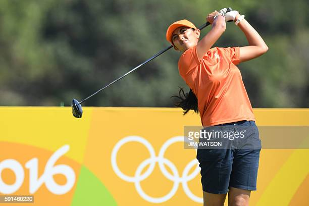 India's Aditi Ashok competes in the Women's individual stroke play at the Olympic Golf course during the Rio 2016 Olympic Games in Rio de Janeiro on...