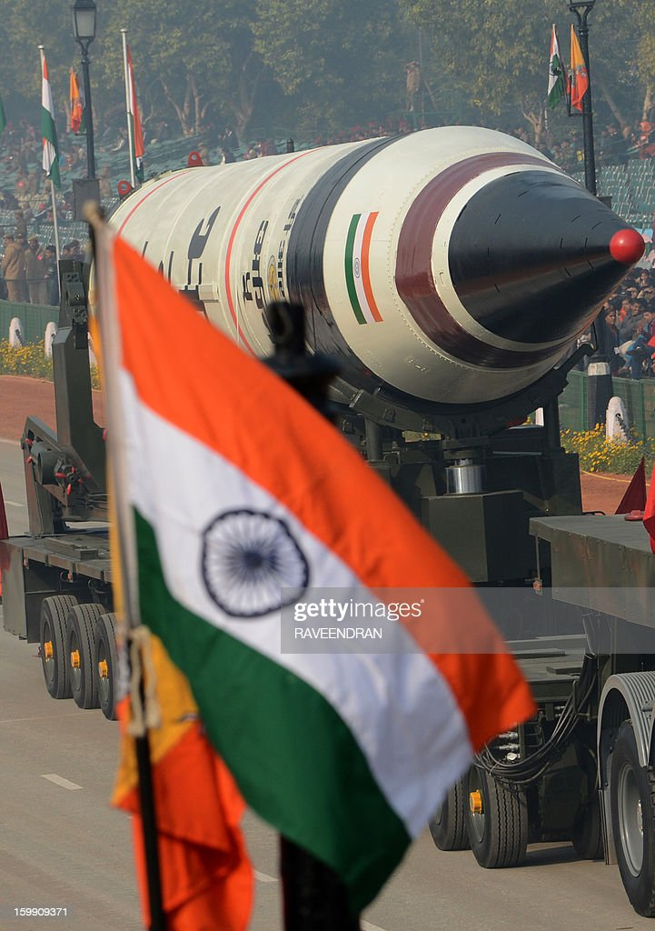 India's Agni 5 Missile is displayed during the final full dress rehearsal for the Indian Republic Day parade in New Delhi on January 23, 2013. India will celebrate the 64th Republic Day on January 26 with a large military parade.