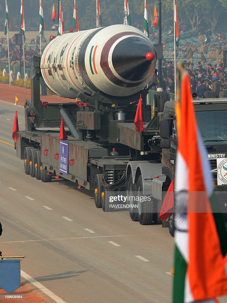 India's Agni 5 Missile is displayed during the final full dress rehearsal for the Indian Republic Day parade in New Delhi on January 23, 2013. India will celebrate the 64th Republic Day on January 26 with a large military parade. AFP PHOTO/ RAVEENDRAN