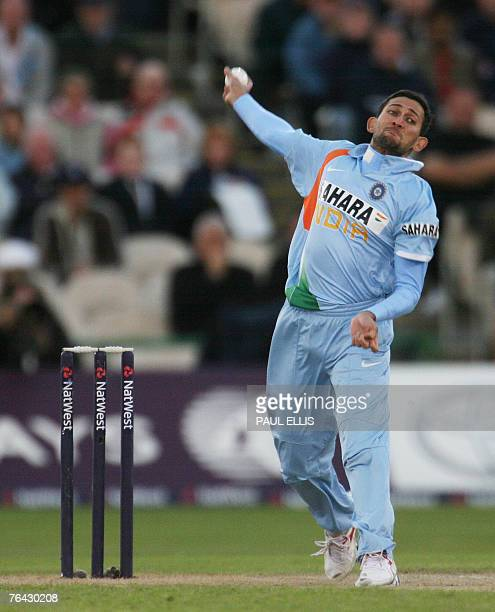 India's Ajit Agarkar bowls against England during their One Day International cricket match at Old Trafford Manchester northwest England 30 August...