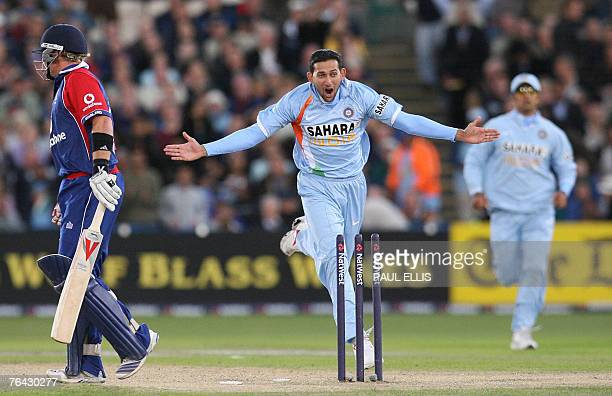 India's Ajit Agarkar celebrates bowling England's Ian Bell during their One Day International cricket match at Old Trafford Manchester northwest...