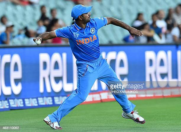 India's Ambati Rayudu fields the ball during the oneday international World Cup warmup cricket match between India and Afghanistan in Adelaide on...