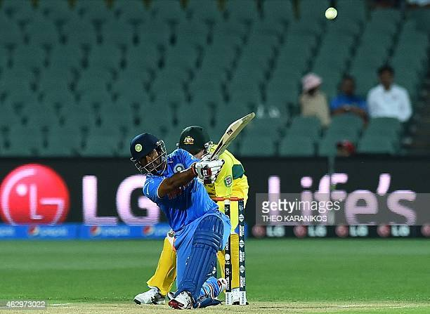 India's Ambati Rayudu plays a shot from the Australian bowling during the oneday international warm up cricket match between Australia and India in...