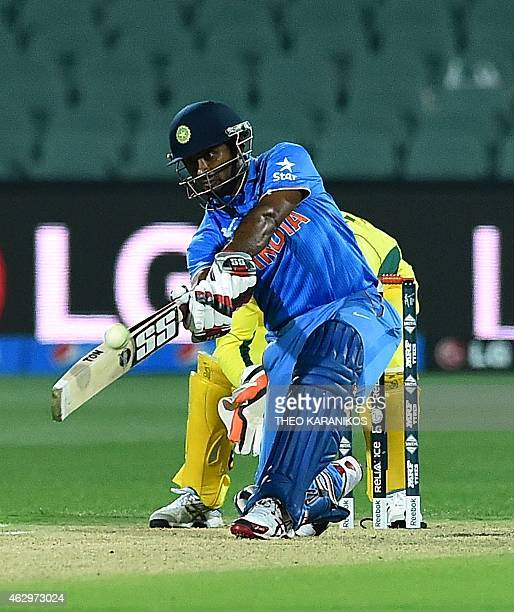 India's Ambati Rayudu plays a shot from the bowling of Australia during the oneday international warm up cricket match between Australia and India in...
