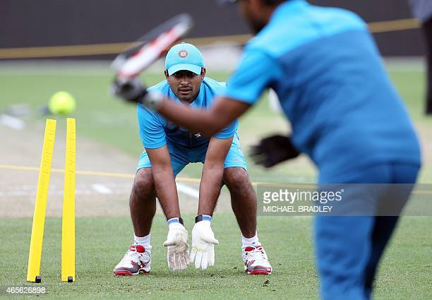India's Ambati Rayudu practices during training ahead of their 2015 Cricket World Cup Group B match against Ireland in Hamilton on March 9 2015 AFP...