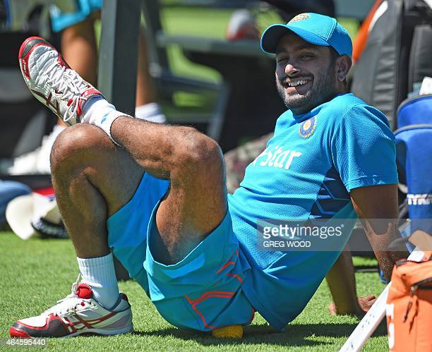 India's Ambati Rayudu prepares for a final training session ahead of their Pool B 2015 Cricket World Cup match against the United Arab Emirates in...