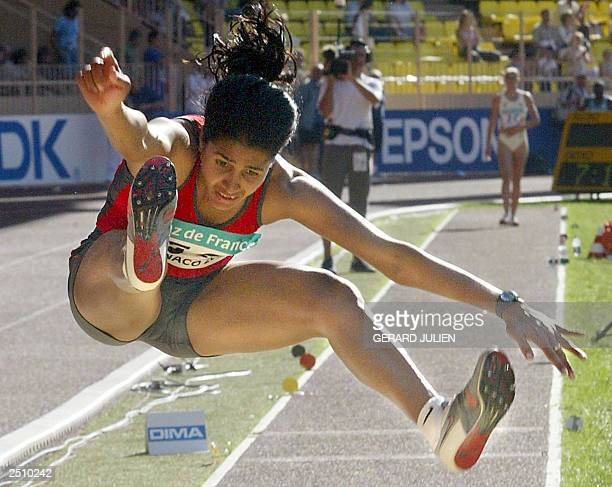 India's Anju Bobby George competes during the long jump contest won by French Eunice Barber 14 September 2003 in the Louis II stadium in Monaco...