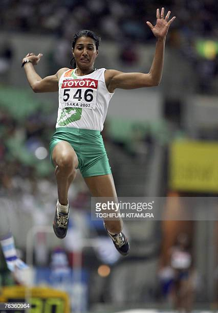 India's Anju Bobby George competes during the women's long jump finals 28 August 2007 at the 11th IAAF World Athletics Championships in Osaka...