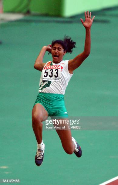 India's Anju Bobby George jumping to the bronze medal in the long jump