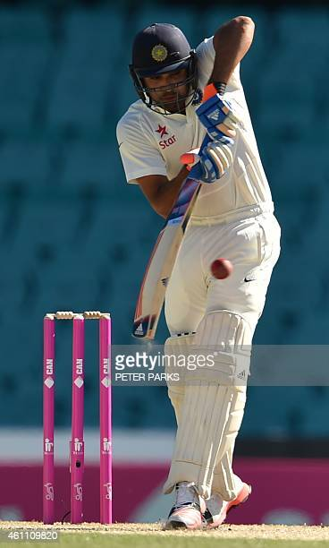 India's batsman Karn Sharma bats during day two of the fourth cricket Test between Australia and India at the Sydney Cricket Ground on January 7 2015...