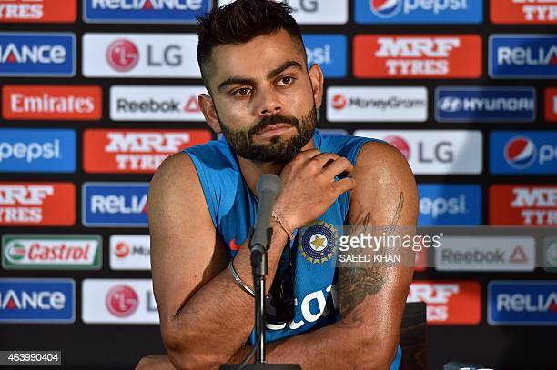 India's batsman Virat Kohli speaks during a press conference at the Melbourne Cricket Ground on February 21 ahead of their 2015 Cricket World Cup...