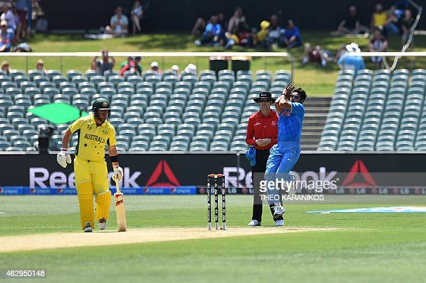 India's Bhuvneshwar Kumar bowls during the ICC oneday international warm up cricket match between Australia and India in Adelaide on February 8 2015...