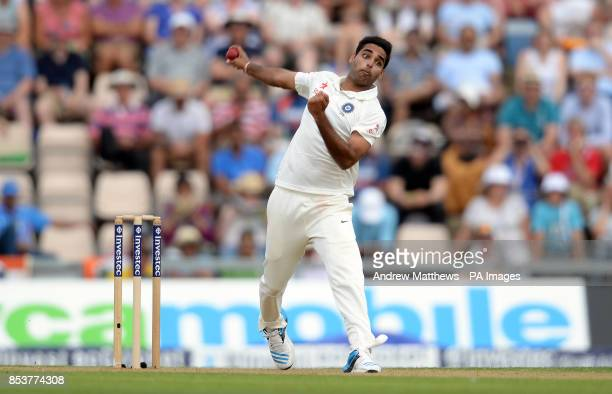 India's Bhuvneshwar Kumar bowls