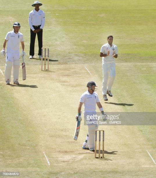 India's Bhuvneshwar Kumar celebrates taking the wicket of England's Ian Bell during day two of the second test at Lord's Cricket Ground London