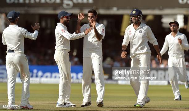 India's Bhuvneshwar Kumar celebrates taking the wicket of England's Gary Ballance during day two of the second test at Lord's Cricket Ground London