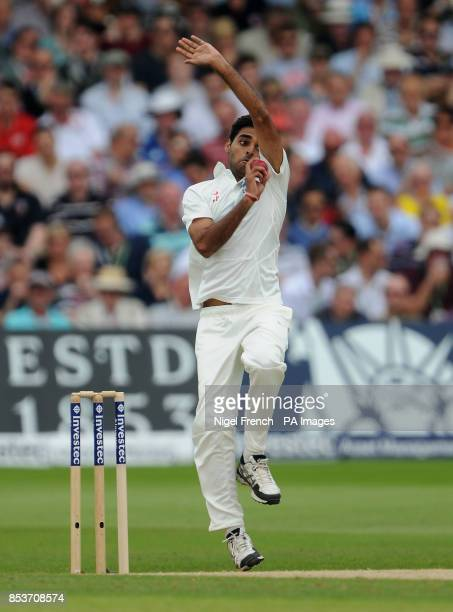 India's Bhuvneshwar Kumar in bowling action against England during day three of the first Investec test match at Trent Bridge Nottingham
