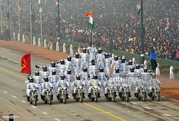 Indias Border Security Force Daredevils motorcycle riders take part during the Republic Day parade in New Delhi on January 26 2016