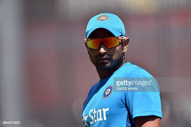 India's bowler Mohammed Shami attends a practice session at the Melbourne Cricket Ground on February 21 ahead of their 2015 Cricket World Cup match...