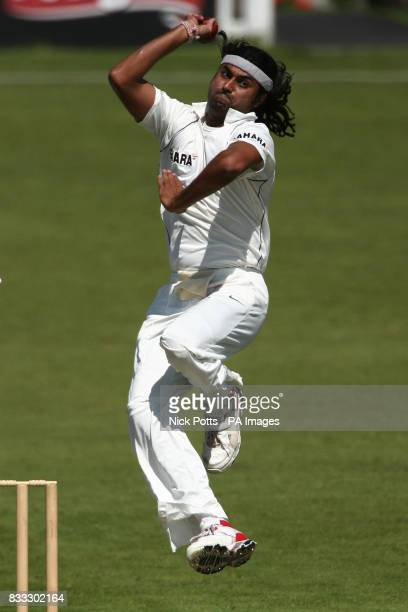 India's bowler Ranadeb Bose bowls during the Tour match at Grace Road Leicester