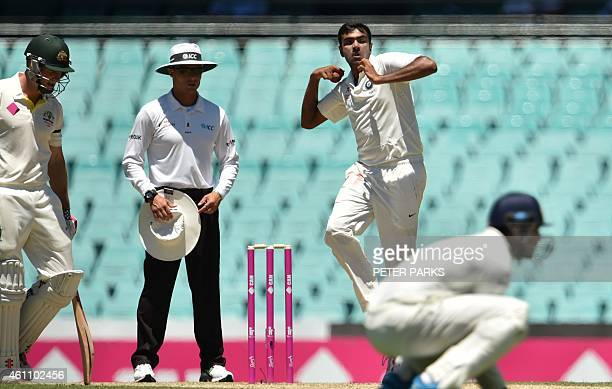 India's bowler Ravichandran Ashwin bowls during day two of the fourth cricket Test between Australia and India at the Sydney Cricket Ground on...