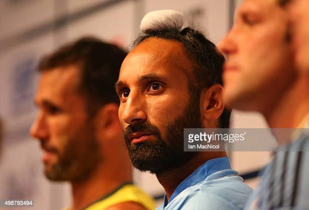 India's captain Sardar Singh looks on during The Hero Hockey League World Final press conference ay the Taj Gateway Hotel on November 26 2015 in...