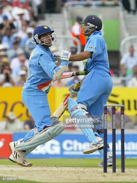 India's captain Sourav Ganguly collides with VVS Laxman resulting in him dropping his bat and being run out in the second oneday international...