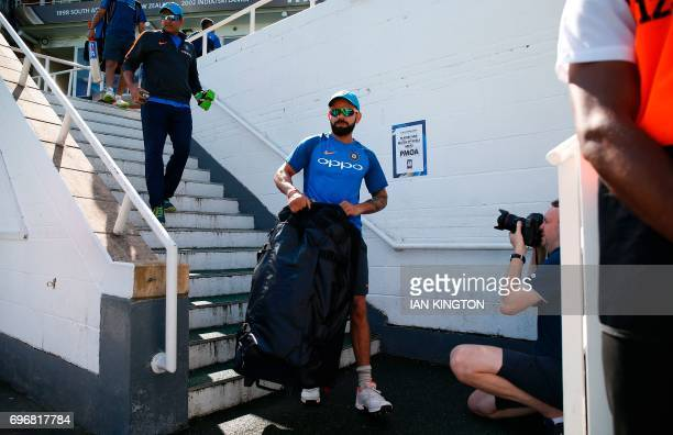 India's captain Virat Kohli arrive to attend a nets practice session at The Oval in London on June 17 on the eve of the ICC Champions Trophy Final...