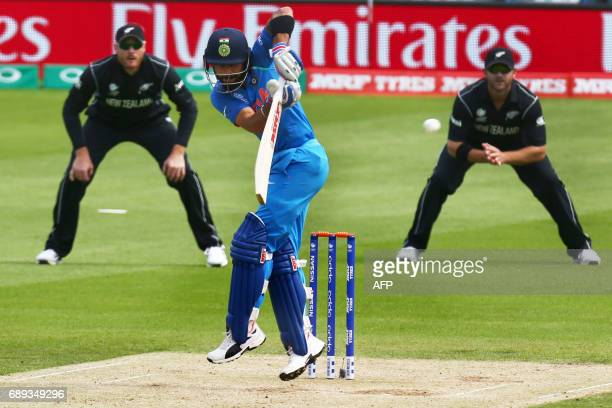 India's captain Virat Kohli bats during the ICC Champions Trophy Warmup match between India and New Zealand at The Oval in London on May 28 2017 /...
