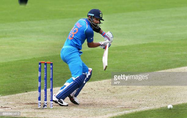 India's captain Virat Kohli during the ICC Champions Trophy Warmup match between India and New Zealand at The Oval in London on May 28 2017 / AFP...