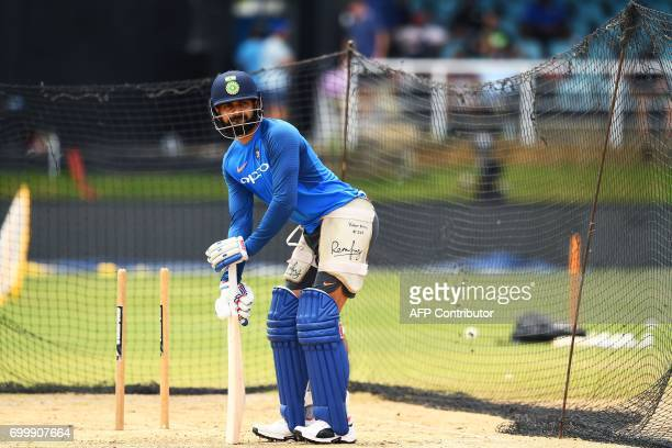 India's captain Virat Kohli prepares to bat during a practice session at the Queen's Park Oval in Port of Spain Trinidad on June 22 ahead of the...