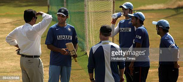 India's chairman of selection comittee Dilip Vengsarkar chatting with Saurav Ganguly and other team members during their net practice prior to the...