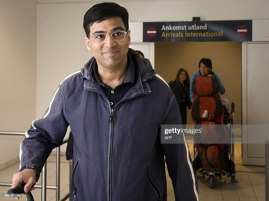 India's chess world champion Viswanathan Anand arrives at Stavanger airport on May 6, 2013. Anand will compete in the Norway Chess 2013 tournament starting in Stavanger on May 7. AFP Photo /Kent Skibstad / Scanpix Norway /NORWAY OUT