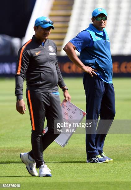 India's coach Anil Kumble takes part in a training session at Edgbaston cricket ground in Birmingham on June 14 ahead of the ICC Champions Trophy...