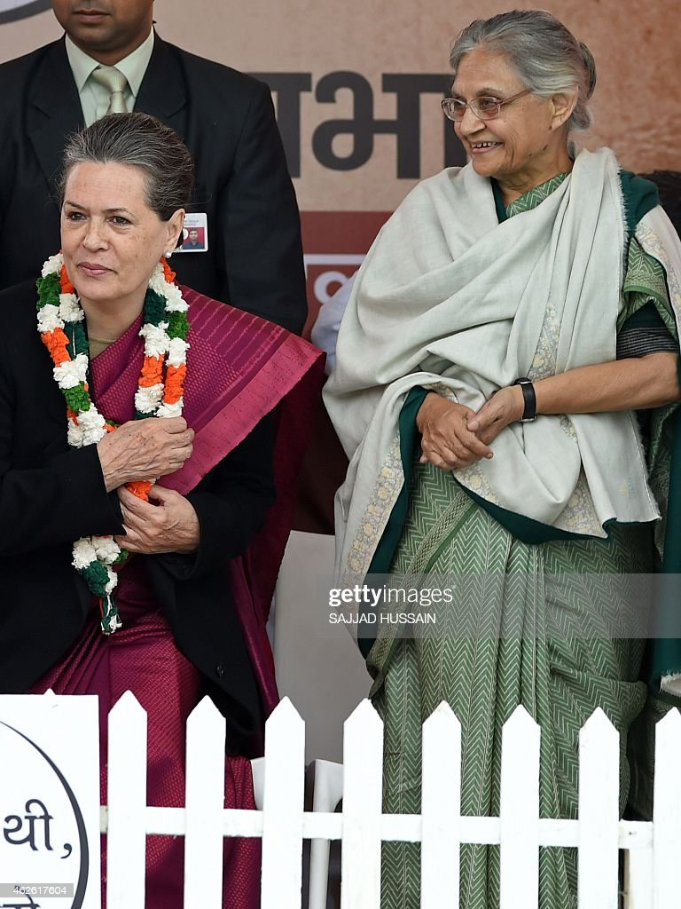 India's Congress party President <a gi-track='captionPersonalityLinkClicked' href=/galleries/search?phrase=Sonia+Gandhi&family=editorial&specificpeople=2287581 ng-click='$event.stopPropagation()'>Sonia Gandhi</a> (L) and former Delhi chief minister <a gi-track='captionPersonalityLinkClicked' href=/galleries/search?phrase=Sheila+Dikshit&family=editorial&specificpeople=728110 ng-click='$event.stopPropagation()'>Sheila Dikshit</a> attend an election campaign rally ahead of the Delhi Legislative Assembly election in New Delhi on February 1 ,2015. Polling will be held on February 7 with counting to be held on February 10. AFP PHOTO / SAJJAD HUSSAIN
