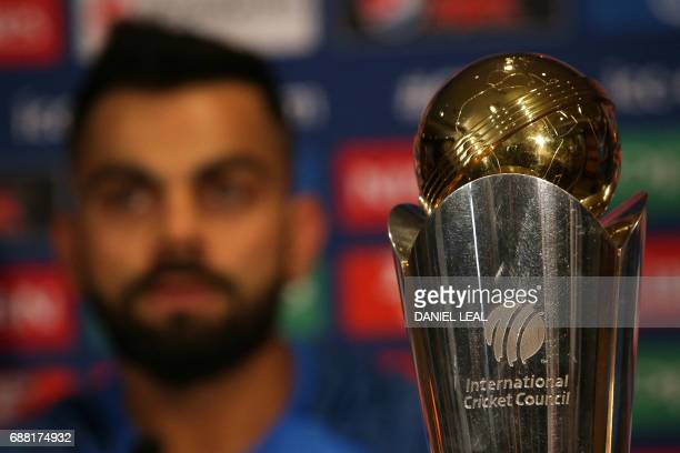India's cricket captain Virat Kohli addresses a press conference in The Grange in London on May 25 ahead of the ICC Champions Trophy 2017 tournament...
