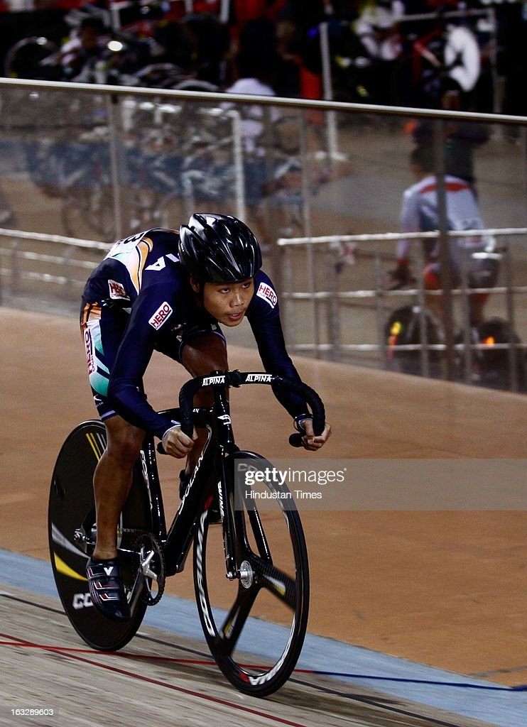 India's Deborah competes in the finals of women's juniors of 500m Time Trial event during Asian Cycling Championship at IG Cycling Velodrome on March 7, 2013 in New Delhi, India. Resident of Andaman and Nicobar Islands and a Tsunami survivor, 19-year-old Deborah brought India's first medal in the Asian Cycling Championships by winning a bronze.