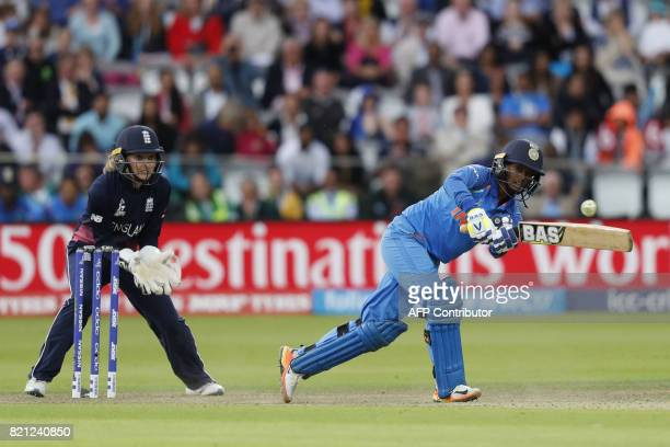 India's Deepti Sharma plays a shot during the ICC Women's World Cup cricket final between England and India at Lord's cricket ground in London on...