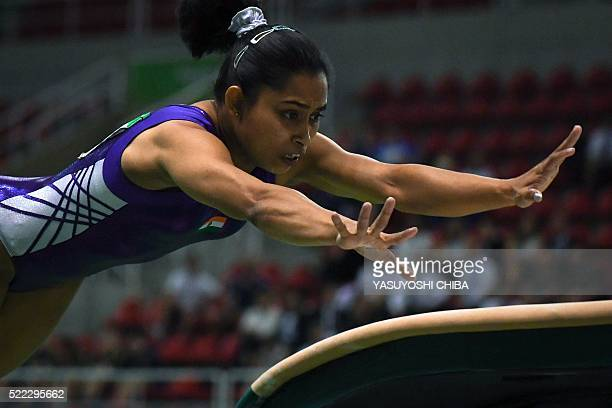 India's Dipa Karmakar competes during the artistic gymnastics test event Women's Vault final for the Rio 2016 Olympic games at the Rio Olympic Arena...
