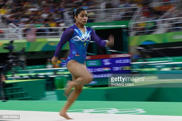 India's Dipa Karmakar competes in the men's floor event final of the Artistic Gymnastics at the Olympic Arena during the Rio 2016 Olympic Games in...
