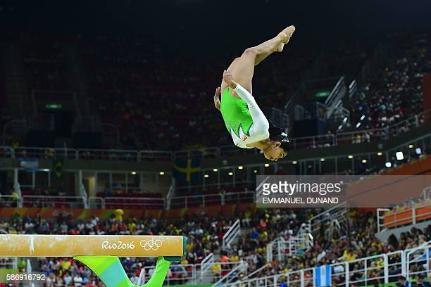 India's Dipa Karmakar competes in the qualifying for the women's Beam event of the Artistic Gymnastics at the Olympic Arena during the Rio 2016...