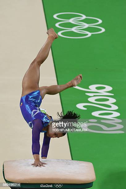 India's Dipa Karmakar competes in the women's vault event final of the Artistic Gymnastics at the Olympic Arena during the Rio 2016 Olympic Games in...