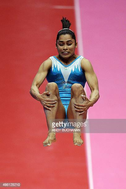 India's Dipa Karmakar performs on the vault during day one of the Women Men's Apparatus Final at the 2015 World Gymnastics Championships in Glasgow...