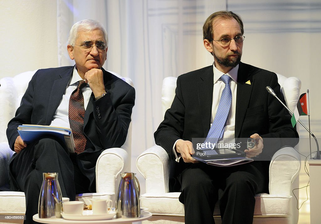India's External Affairs Minister Salman Khurshid (L) and Jordanian envoy to the UN Prince Zeid Raad al-Hussein attend an informal meeting during the Nuclear Security Summit (NSS) on March 25, 2014. in The Hague, the Netherlands. Leaders from around the world have come to discuss matters related to international nuclear security, though the summit is overshadowed by recent events in Ukraine.