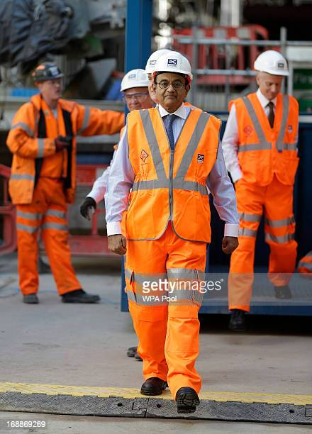 India's Finance Minister Palaniappan Chidambaram tours the Pudding Mill Lane Crossrail construction site in east London on May 16 2013 in London...
