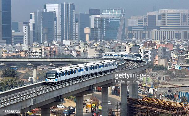 India's first fully privately funded Rapid Metro Gurgaon running on track after starting its commercial operations on November 14 2013 in Gurgaon...