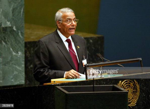 India's Foreign Minister Yashwant Sinha speaks during a United Nations General Assembly meeting on HIV/AIDS at UN headquarters September 22 2003 in...