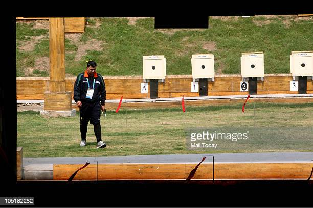 India's Gagan Narang introspects after winning his fourth gold in the men's singles 50m rifle 3 position event of the Commonwealth Games at Dr K...