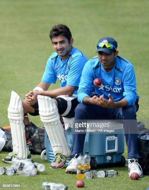 India's Gautam Gambhir and Mohammed Shami during a nets practice session at Emirates Old Trafford Manchester