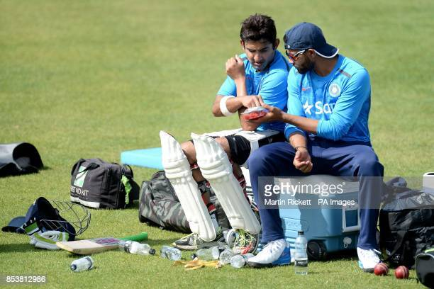 India's Gautam Gambhir and Ravindra Jadeja during a nets practice session at Emirates Old Trafford Manchester