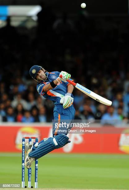 India's Gautam Gambhir avoids a bouncer as he bats against West Indies